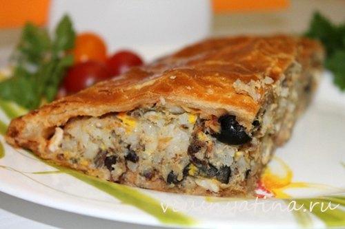 рецепт рыбного пирога с рисом
