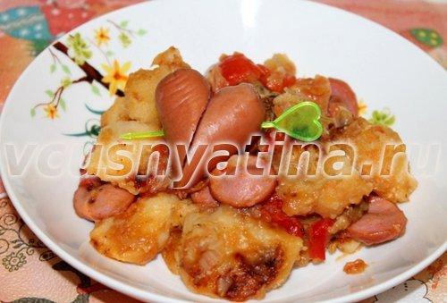 картошка тушеная с сосиской