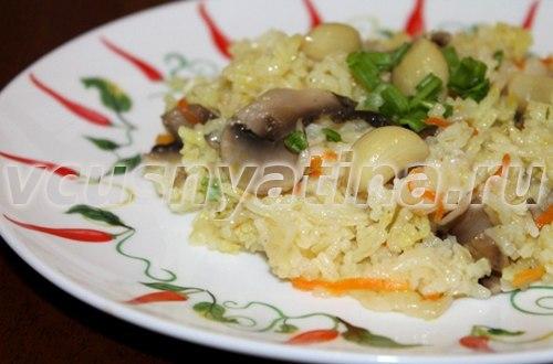 рецепт постного плова с грибами