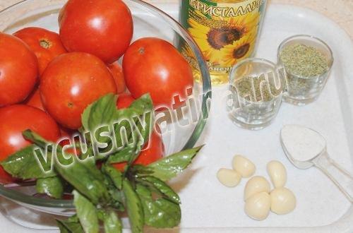 ингредиенты для вяленых томатов