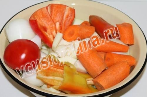 овощи нарежьте и измельчите