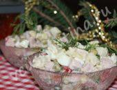 новогодний салат с ветчиной и овощами