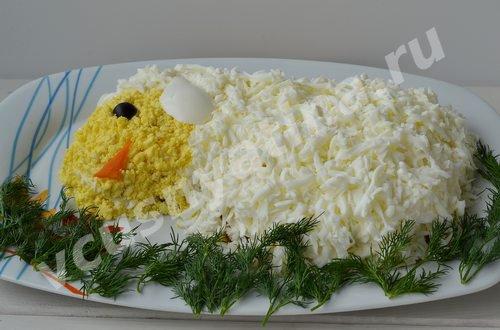 салат на Новый год Овечка