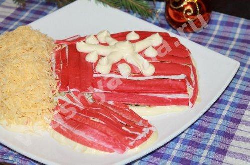Новогодний салат « Варежка деда Мороза»