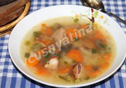 Суп с грибами и копченой курицей