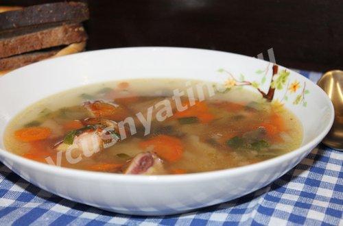 суп с грибами и курицей