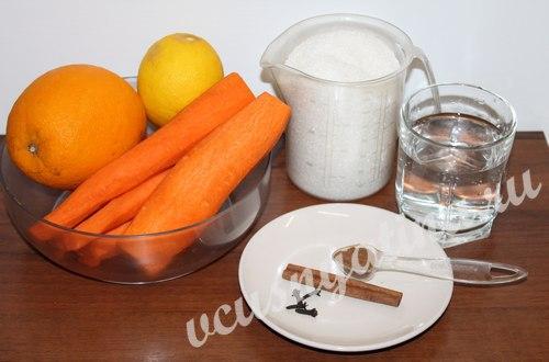ингредиенты для приготовления джема из моркови
