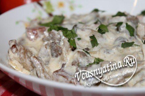 Рецепт вешенок в сливочном соусе