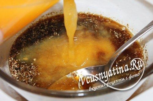 Добавить горчицу, апельсиновый сок, соль