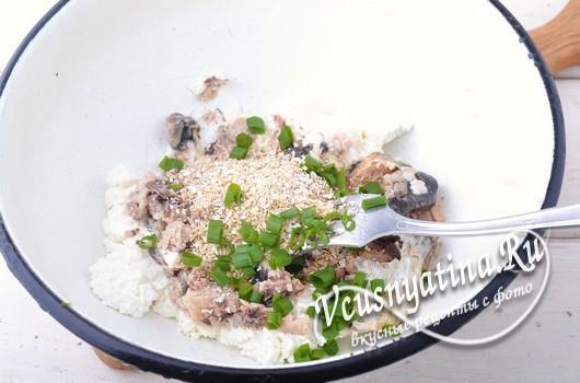 добавить отруби и зеленый лук