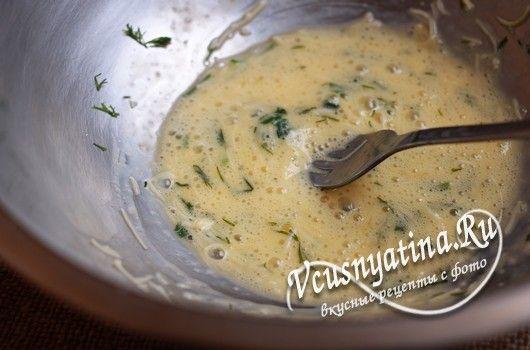 перемешать яйцо с сыром