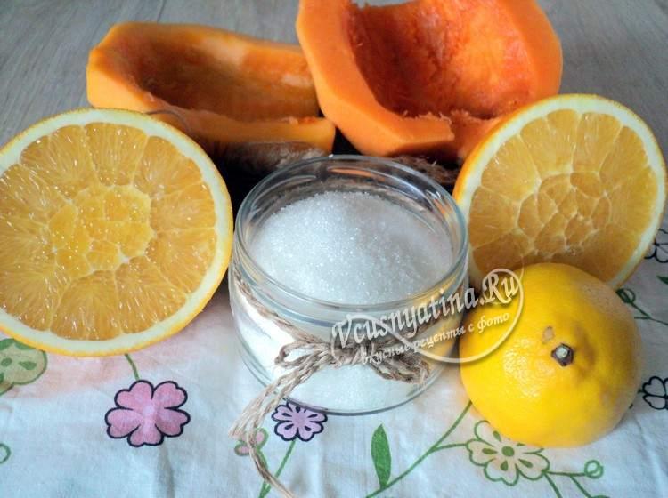 Ингредиенты для тыквенного варенья с апельсином и лимоном