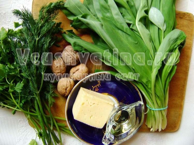 Ингредиенты для соуса песто из черемши