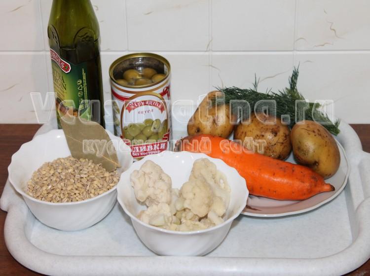 Ингредиенты для рассольника с оливками
