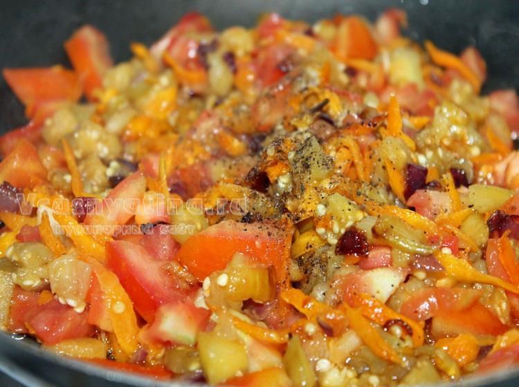 Начинка из овощей для баклажанов