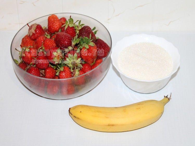 Банан и клубника для варенья
