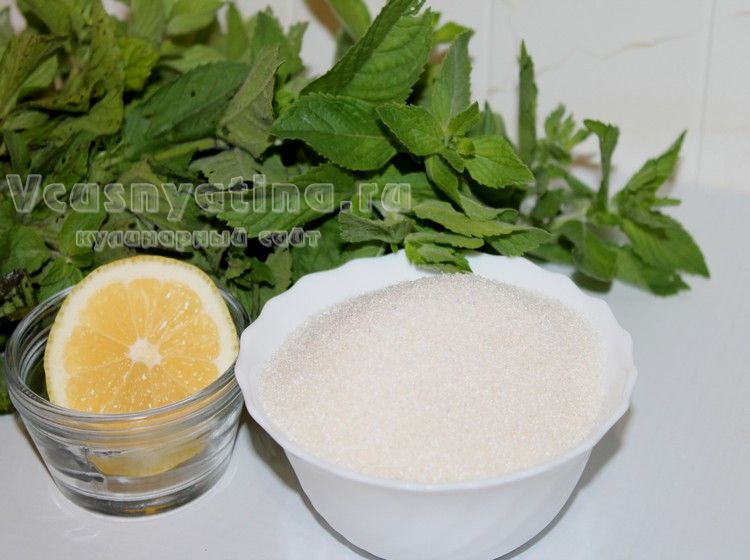 Мята, лимон и сахара для варенья