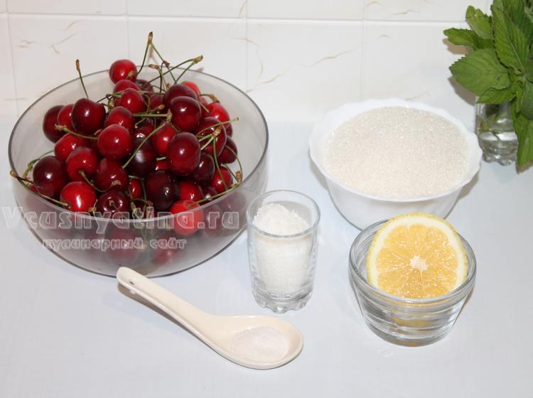 Ингредиенты для варенья из черешни и кокосовой стружки