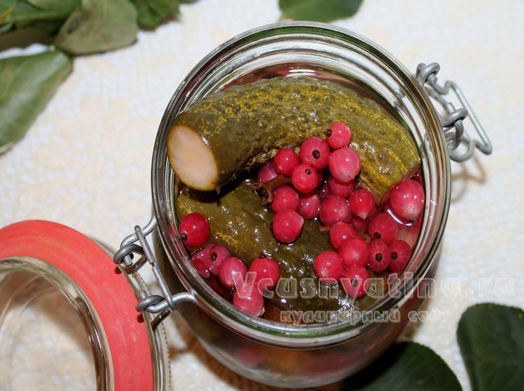 Маринованные огурцы на зиму с красной смородиной рецепт с фото