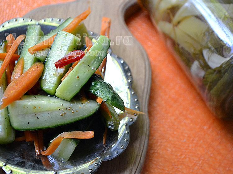 Огурцы по-корейски на зиму с приправой для корейской моркови, рецепт