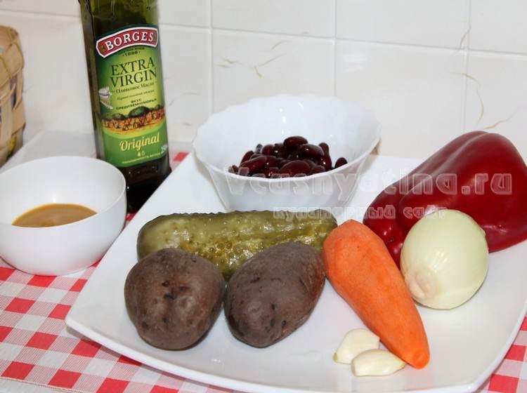 Ингредиенты для постного салата с фасолью