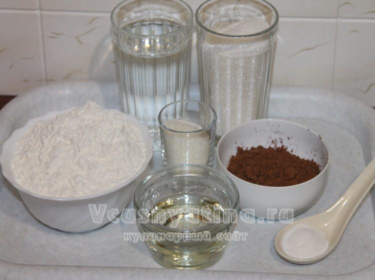Ингредиенты для постного шоколадного кекса