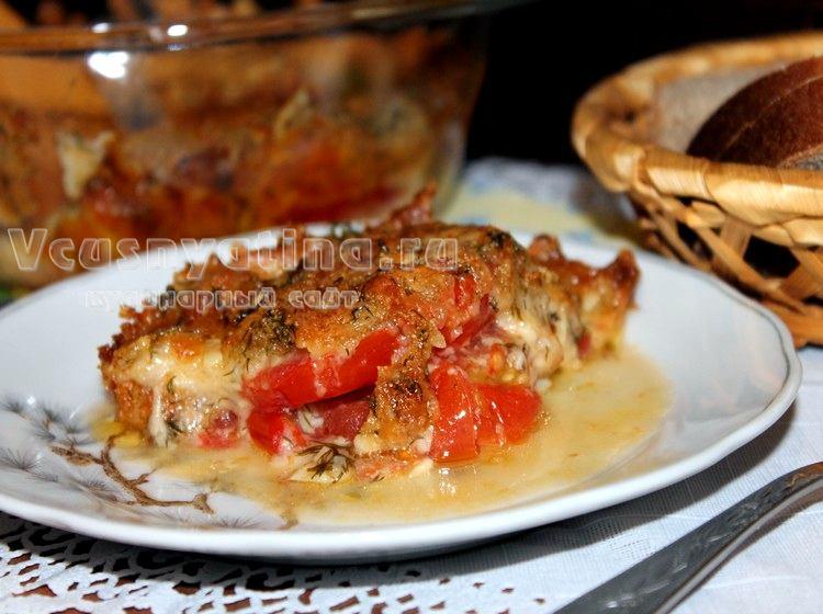 Помидоры запечённые с сыром и чесноком в духовке