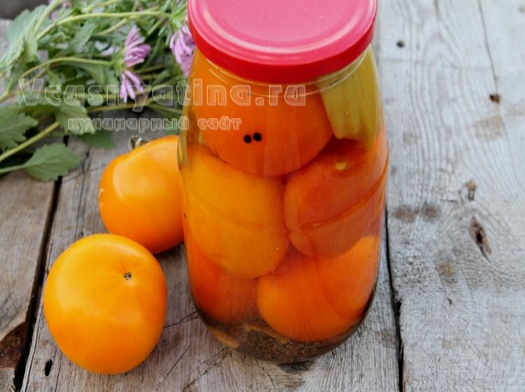 Жёлтые помидоры маринованные на зиму