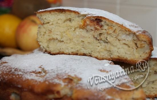 Быстрый пирог с яблоками на кефире