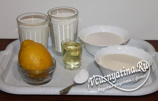 Ингредиенты для кекса из манной крупы