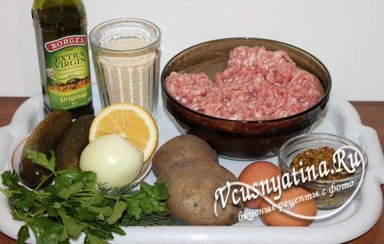 Ингредиенты для котлет с соусом