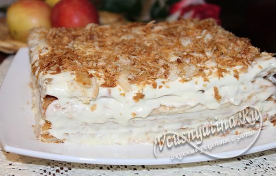 Торт «Наполеон» из готового теста со сгущенкой