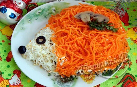 Салат ёжик рецепты с курицей с корейской морковкой и