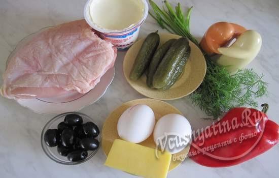Ингредиенты для салата Петушок