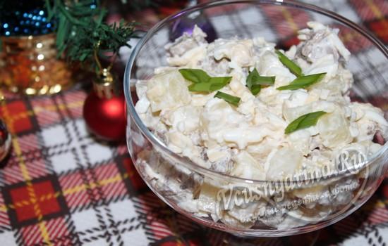 Рецепт салата с говядиной и ананасом