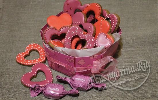 Печенье «Сердечки» с глазурью ко Дню влюбленных