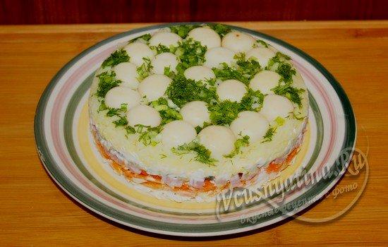 рецепт салата поляна с корейской морковкой
