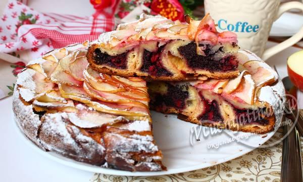 сдобный пирог с маком и вишней