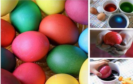 Как покрасить яйца в пищевых красителях