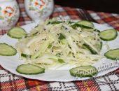 салат из корня сельдрея с огурцом и капустой