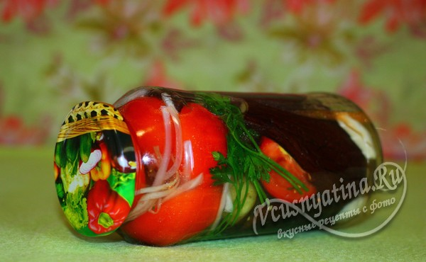 целые баклажаны с помидорами на зиму