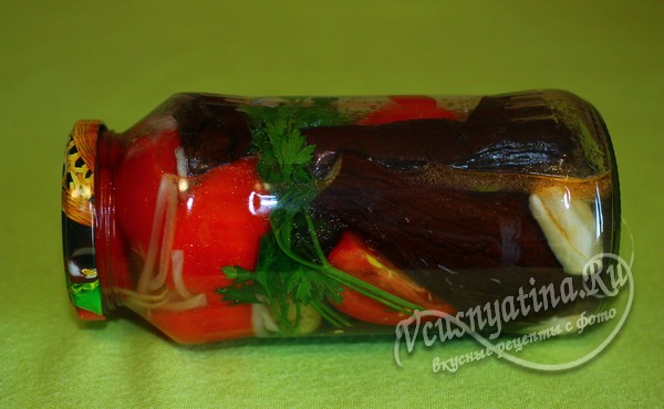 готовые баклажаны с помидорами на зиму в банке