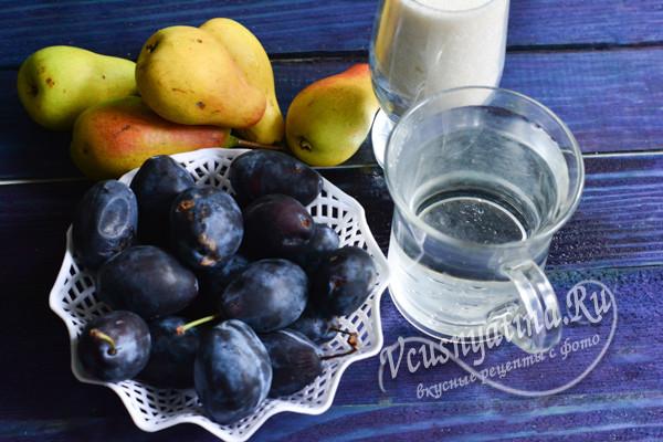 ингредиенты из груши и сливы