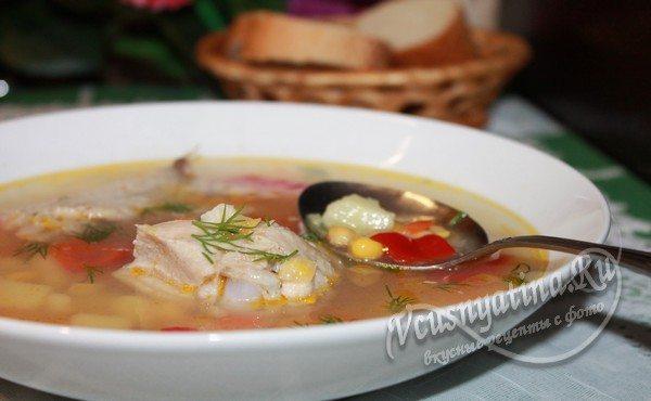 готовый куриный суп с кукурузой