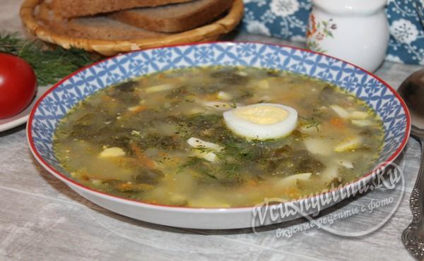 готовый суп со щавелем и яйцом