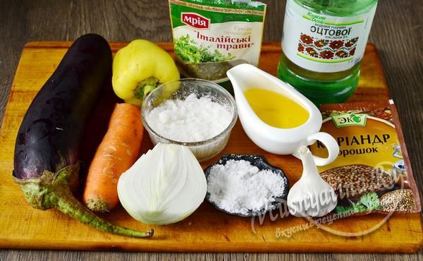 ингредиенты для баклажан по-корейски
