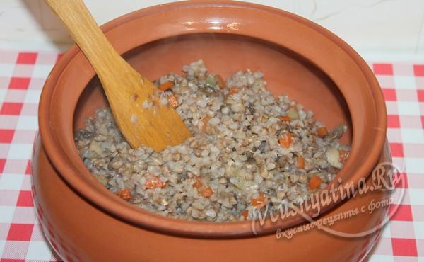 переложить гречку в большой горшочек
