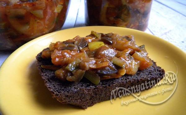 овощное соте на хлебе