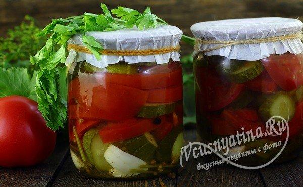 салат из огурцов и помидоров на зиму готов