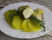 Минтай с картошкой в духовке